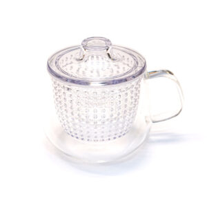 Tazza da tè in pirex con filtro e tappo