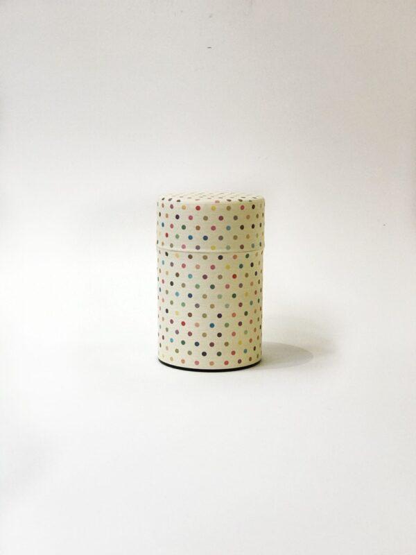 Scatola per tè decorata con carta washi a pois