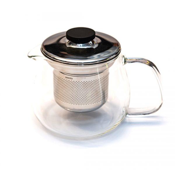 Teiera in pirex con filtro e tappo in acciaio