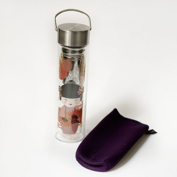 Contenitore per tè da viaggio con immagine di geisha